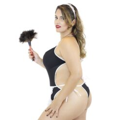 Fantasia Body Empregada Plus Size 3 Peças