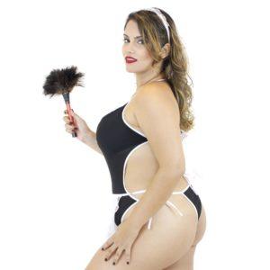 Fantasia Body Empregada Plus Size 3 Peças costas