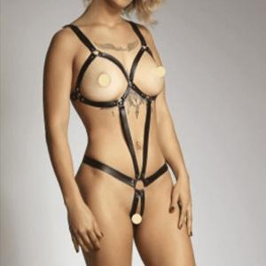 Body Dominadora em Couro Eros Toys