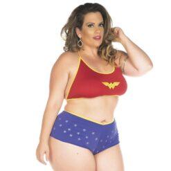 Mini Fantasia Mulher Maravilha Plus Size Pimenta Sexy