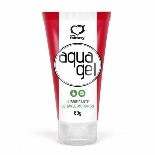 aquagel gel lubrificante beijavel 60g sexy fantasy morango 1 - misex